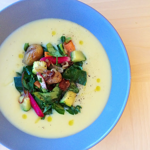 Leek and Potato Soup with Warm Winter Vegetable Salad